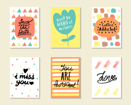 i miss you: Cute hand drawn doodle postcards, cards, covers with different elements and quotes including love, i miss you, you are awesome, coffee addicted, save the date. Positive printable templates set Illustration