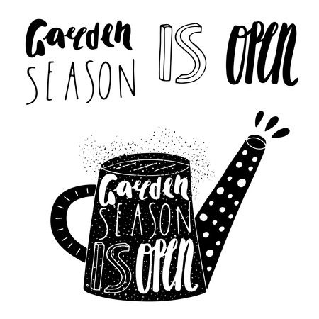 water can: Hand drawn black water can logo with lettering quotes.Gaden season is open. Postcard, background with water can and grunge textures. Water can logo for farm, market, village, country, garden shop