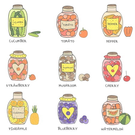 Cute hand drawn doodle jam and marinade jars collection icluding cucumber, tomato, pepper, mushrooms, strawberry, cherry, pineapple, blueberry, watermelon. Jam jars icon set