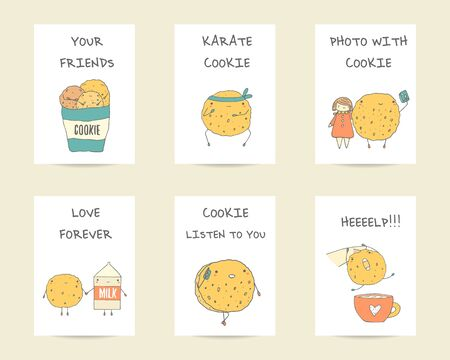 milk and cookies: Cute hand drawn doodle postcards, cards with cookies characters including karate cookie, cookie with phone, cookie doing photo with girl, cookie with milk, cookie with cup. Backgrounds, covers set