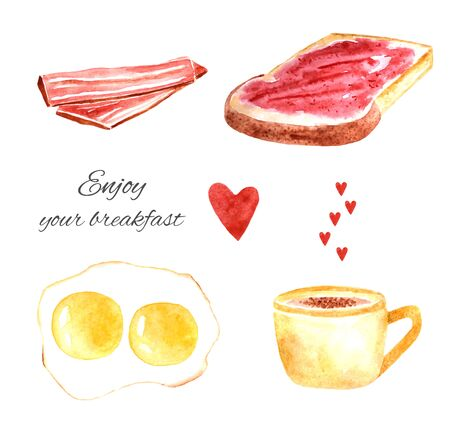 Watercolor tasty breakfast including fried eggs, cup of coffee, bacon, toast with jam and hearts Stock Photo