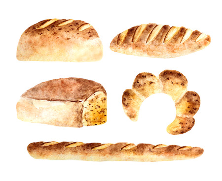 white bread: Watercolor fresh bread bakeries with baguette,loaf of white bread, bagel vintage styled, banners, icons for your design