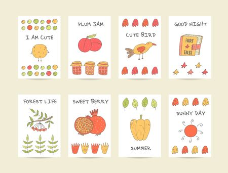 viburnum: Cute hand drawn doodle baby shower cards, brochures, invitations with cookie, plum, bird, granade, pepper, jam, sun, pomegranate, viburnum, fairy tale book, stars. Cartoon objects, animals background