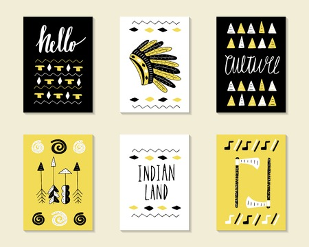 tepee: Cute doodle birthday, party, baby shower cards, brochures, invitations with indian hat, cactus, feather, wigwam, tribal decorative elements. Cartoon objects background. Black and golden templates set