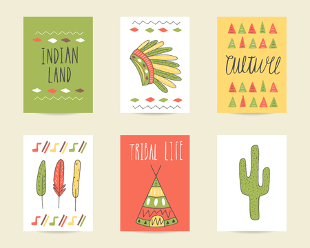 wigwam: Cute hand drawn doodle birthday, party, baby shower cards, brochures, invitations with indian hat, cactus, feather, wigwam, tribal decorative elements. Cartoon objects background.