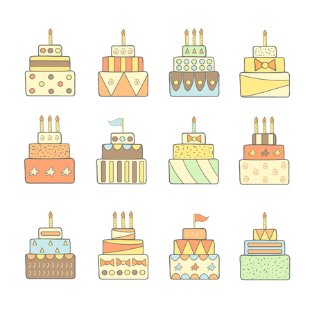 eclair: Cute hand drawn doodle cakes set. Cake icon. Cake for birthday, wedding, party Illustration