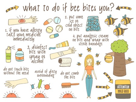 bites: Infographic about what to do if bee bites you. Hand drawn doodle objects collection uncluding bee, tree, hand, girl, ice, medicine, gel, spray, bite. Tips, advice collection