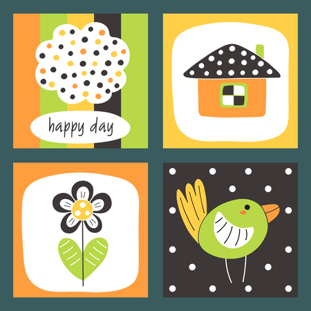 Cute hand drawn doodle cards, brochures, invitations with bird, home, cloud, flower, polka dots. Cartoon objects background for children