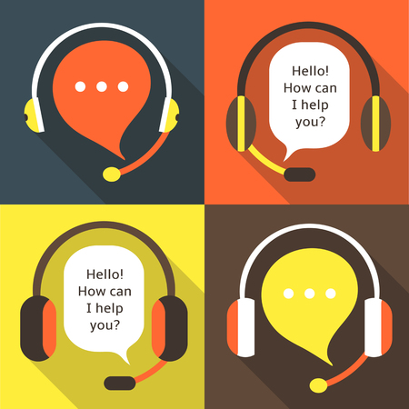 earphones: Flat style call center earphones with microphones icons set. Earphones icons for communication