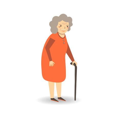 older woman smiling: Cute flat style old lady, woman, grandmother in red dress with stick. Grandmother, old lady character icon, background