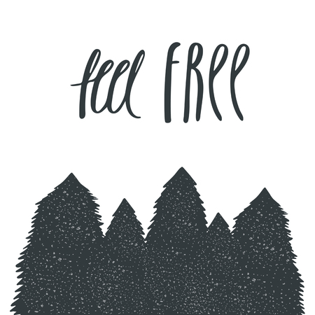 postcard background: Hand drawn postcard, card, background with spruce trees, forest trees. Postcard with lettering quote feel free