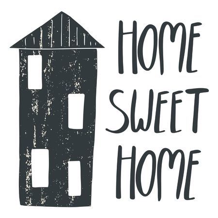 Hand drawn postcard, card, background with house and vintage texture. Postcard with lettering quote home sweet home