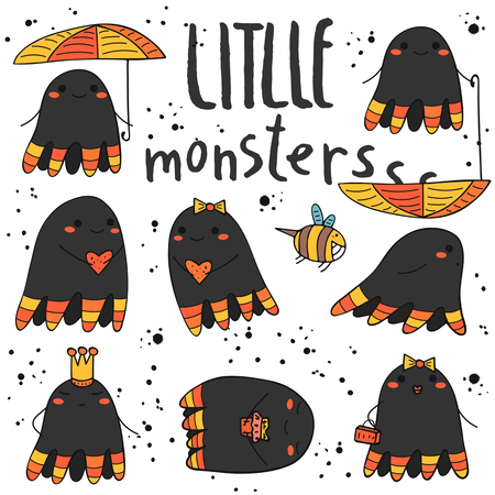 creatures: Cute hand drawn doodle monsters, creatures collection. Funny monsters, creatures icon, banner, logo