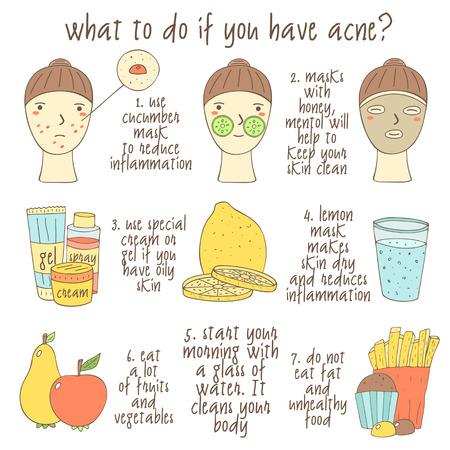 main mignon dessiné doodle infographique sur ce qu'il faut faire si vous avez de l'acné. Objets collection, y compris visages, citron, verre d'eau, crème, gel, pomme, poire, muffins, frites, masque facial. Les problèmes de peau icônes Vecteurs