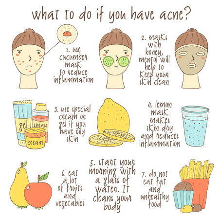 Cute hand drawn doodle infographic about what to do if you have acne. Objects collection including faces, lemon, glass of water, cream, gel, apple, pear, muffin, fries, face mask. Skin problems icons Illustration
