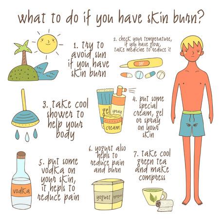 dibujados mano linda del doodle infografía sobre lo que debe hacer si tiene quemaduras en la piel. Colección de los objetos incluyendo el sol, palma, isla, la medicina, ducha, crema, gel, spray, el alcohol, el yogur, té, muchacho.