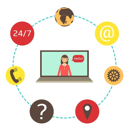 Flat style laptop with woman surrounded with icons. Icons collection including earth, phone, question mark. Technology background with laptop. Illustration