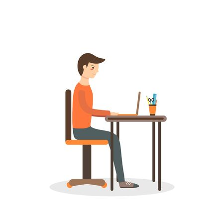 office computer: Flat style man sitting on the chair with laptop on the table. Background with typing boy Illustration