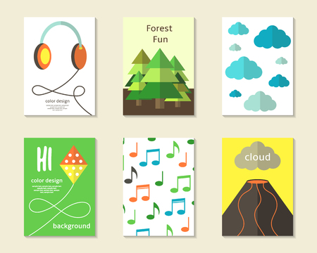 fur trees: Cute flat style cards, brochures, invitations with earphones, fur trees, clouds, sky, kite, musical notes, vulcano. Cartoon children objects background. Printable templates set