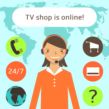 call center female: Cute flat style female tv shop, call center operator. Girl in red blouse with earphones and microphone.