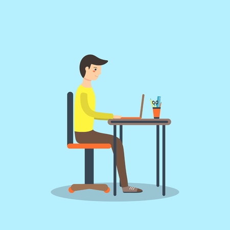 dissertation: Flat style man, student sitting on the chair with laptop on the table and writing his dissertation. Background with typing boy