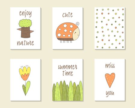 lady bird: Cute doodle birthday, party, baby shower cards, brochures, invitations with tree, lady bird, polka dot, flower, grass, heart. Cartoon objects character background Printable templates set Illustration