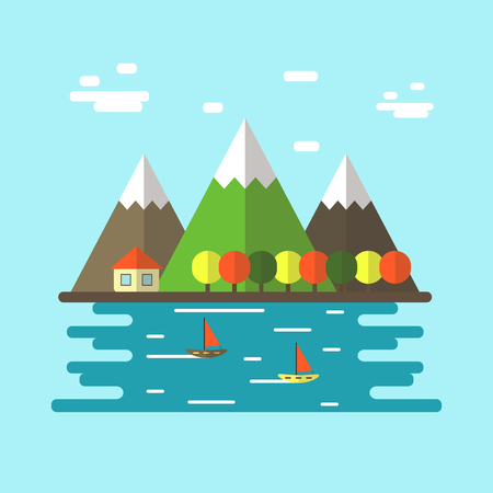 Cute flat style village view with clouds, mountains, house, trees, lake, boats. Rustic place scene Illustration