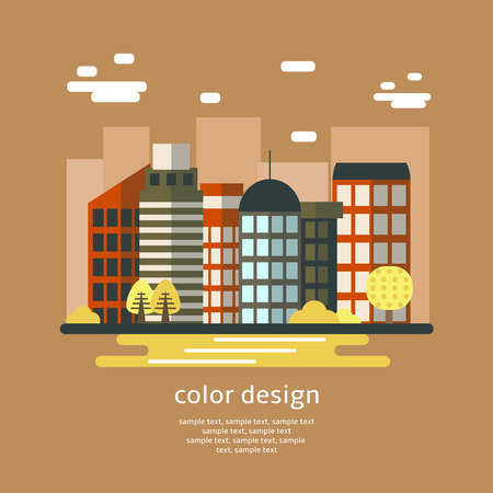 city center: Cute flat style city center with buildings, clouds, trees. Business buildings collection. Brown color cityscape Illustration