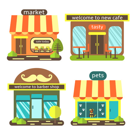 pet store advertising: Cute flat style street shops set, including supermarket, coffee shop, barber shop, pet store. Buildings icons collection