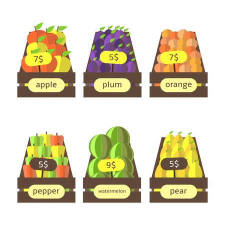 apples and oranges: Cute flat style wooden boxes with fruits and vegetables including apples, plums, oranges, peppers, watermelons, pears. Street market, farm boxes with fruits collection. Fruits icons set