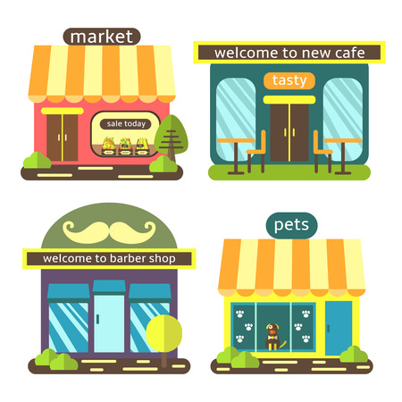 Cute flat style street shops set, including supermarket, coffee shop, barber shop, pet store. Buildings icons collection