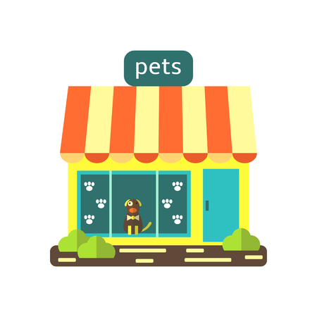pet store advertising: Cute flat style pet shop, store. Building icon with windows, door, dog, grass