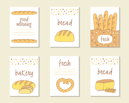 bagel: Cute doodle food cards, brochures, tags with bread, baguette, bagel. Cartoon bread background. Printable templates set for bakery Illustration