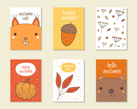 acorn squirrel: Cute doodle autumn cards, brochures, invitations with acorn, squirrel, berries, plants, leaves, pumpkin, beaver Cartoon objects background Printable templates set
