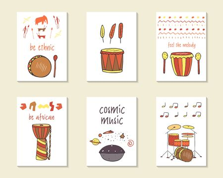 djembe: Cute doodle ethnic musical cards, brochures, invitations with drums including hang, djembe, indian drum, shaman drum, modern drums. Cartoon characters, objects background. Printable templates set