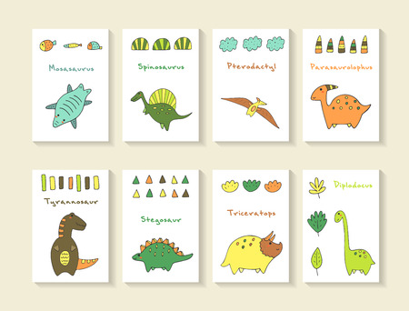 Cute hand drawn doodle dino collection including mosasaurus, spinosaurus, pterodactyl, parasaurolophus, tyrannosaur, stegosaur, triceratops, diplodocus. Dino icons collection with abstract elements