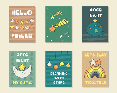 whale baby: Cute hand drawn doodle baby shower cards, brochures, invitations with stars, falling star, moon, rainbow, starry sky, whale, star garland. Cartoon characters background. Printable templates, tags set Illustration