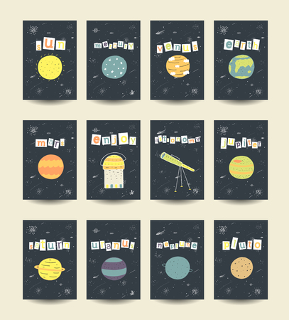 pluto: Cute hand drawn doodle cards, brochures with comic objects, planets including sun, mercury, venius, earth, mars, jupiter, saturn, uranus, neptune, pluto stars galaxy comet milky way telescope Illustration
