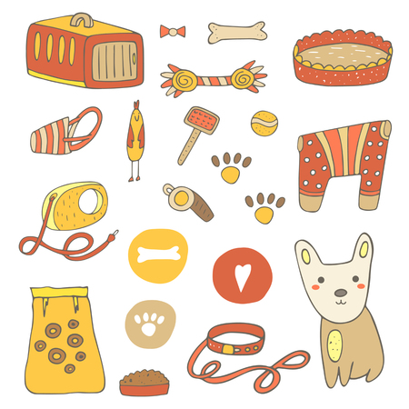 stuff toys: Cute hand drawn doodle dog stuff, objects including cage, bone, ball, food, plate, clothes, bed, brush, paw prints, chicken toy, whistle heart collar lead muzzle Dog objects icon