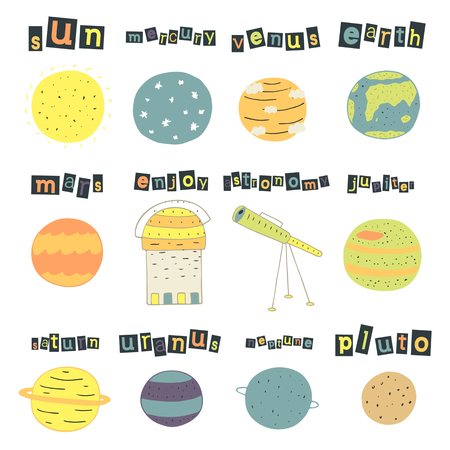 pluto: Cute hand drawn doodle cosmic objects, planets set including sun, mercury, venus, earth, mars, jupiter, saturn, uranus, neptune pluto telescope Universe objects collection