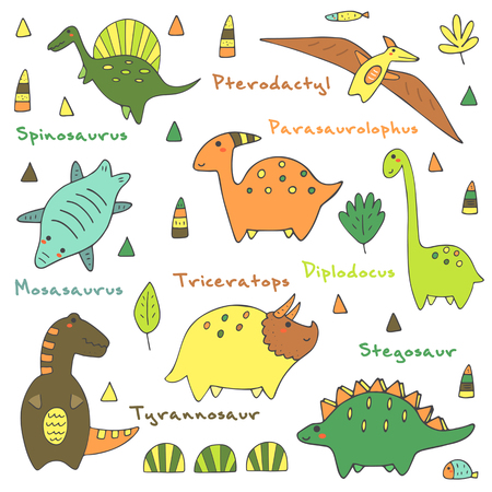 tyrannosaur: Cute hand drawn doodle dino collection including mosasaurus, spinosaurus, pterodactyl, parasaurolophus, tyrannosaur, stegosaur, triceratops, diplodocus. Dino icons collection with abstract elements