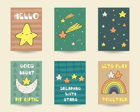 falling star: Cute hand drawn doodle baby shower cards, brochures, invitations with stars, falling star, moon, rainbow, starry sky. Cartoon characters background. Printable templates, tags set Illustration