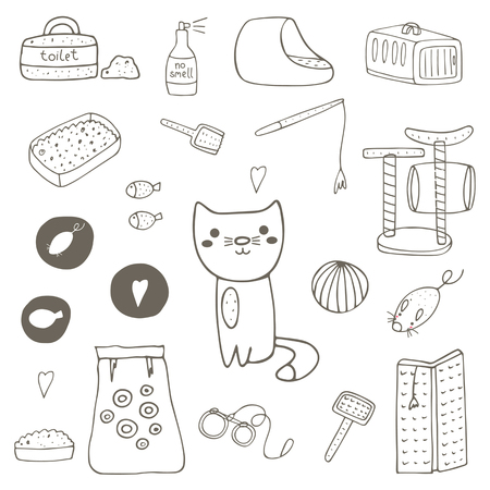 food stuff: Cute hand drawn doodle cat stuff, objects including cage, mice toy, ball, toilet, bed, playground, food, brush, leash, fish, no smell spray scratching post Kitten objects icon Illustration