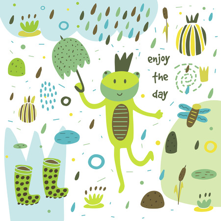 swamp: Cute hand drawn card, postcard with frog, swamp, rubber boots, rain, umbrella, water lily, plants, flowers, hearts, polka dots, abstract elements Background cover for children in cartoon style Illustration