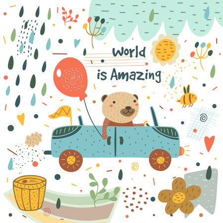 Cute hand drawn card, postcard with bear, car, balloon, rain drops, bee, honey barrel, flag, cloud, flowers, hearts, polka dots, abstract elements Background cover for children in cartoon style