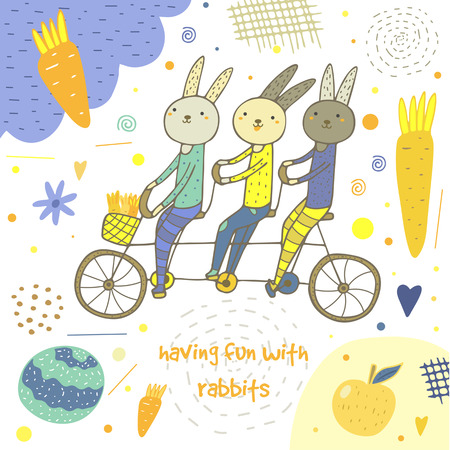 pedaling: Cute hand drawn card, postcard with rabbits, bike, carrot, cabbage, apple, cloud, flowers, hearts, polka dots, abstract elements Background cover for children in cartoon style