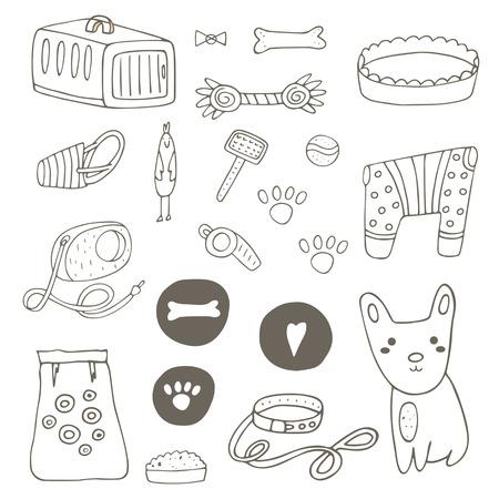 Nette Hand Gezeichnet Doodle Katze Stuff, Objekte, Einschließlich ...
