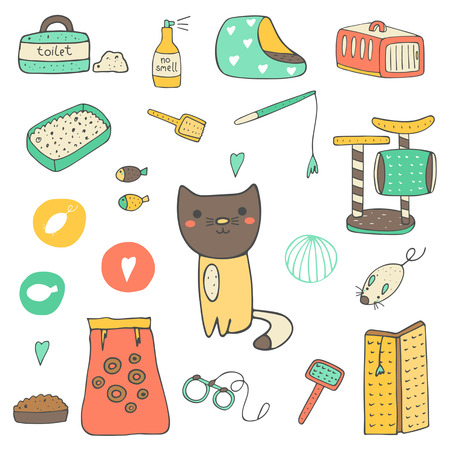 toy toilet bowl: Cute hand drawn doodle cat stuff, objects including cage, mice toy, ball, toilet, bed, playground, food, brush, leash, fish, no smell spray scratching post Kitten objects icon Illustration