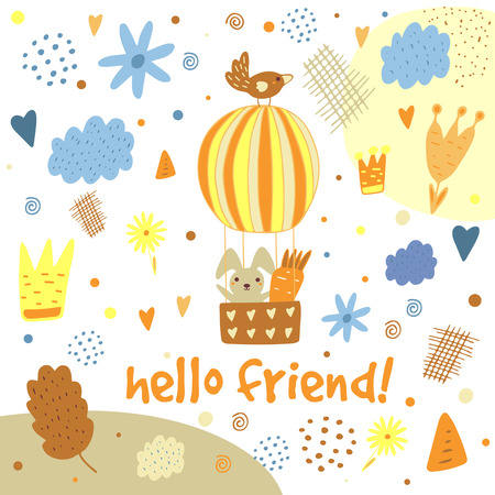 Cute hand drawn postcard with rabbit, hot air balloon, bird, clouds, flowers, crown, leaf, heart, polka dots, abstract elements.Hello friend background for children. Baby shower cover in cartoon style