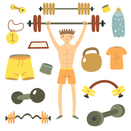 twirled: Hand drawn flat style man holding barbell. Sport objects set including shorts, t shirt, medal, dumbbell, wristband, water bottle, talc container. Gym objects icons